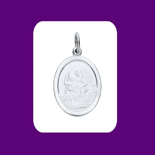Oval St Christopher Pendant Sterling Silver Hallmark All Chain Lengths